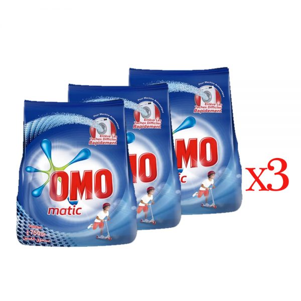 PACK 3 PIECE OMO MATIC SACHET 750 GR