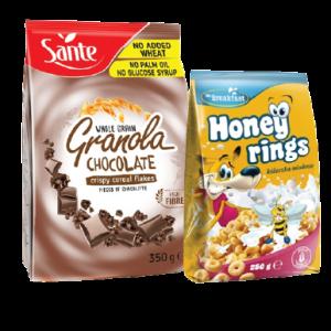PACK 2 SANTE GRANOLA CEREALES CHOCOLAT = HONEY RINGS OFFERT